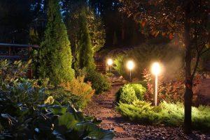 Een tuin met verlichting bij een tuinontwerp in Amersfoort